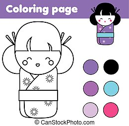 Coloring page with cute japanese kokeshi doll. Children...