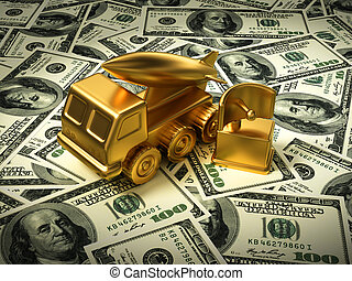 Gold Missile System And Radar On American Dollars. 3D...