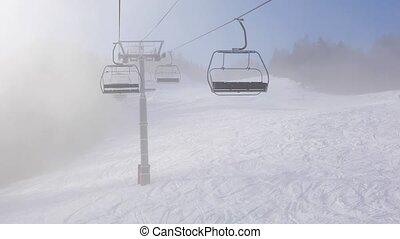 Ski lift ascend - Using ski lift in foggy weather