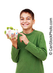 Teenage boy showing piggy money box