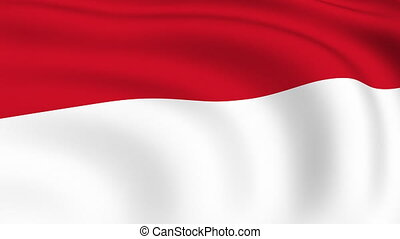 Flying Flag of INDONESIA   LOOPED  
