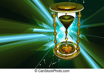 Hour glass - Digital illustration of hour glass in color...