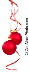 Christmas tree balls - Two bright red Christmas tree balls...