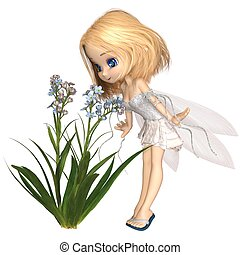 Cute Toon Blonde Forget-Me-Not Fairy - Fantasy illustration...