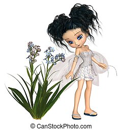 Cute Toon Black-Haired Forget-Me-Not Fairy - Fantasy...