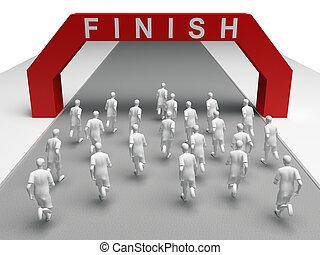 group of marathon runners run to the finish
