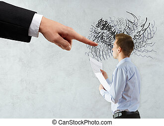 Workload concept - Hand pointing at thoughtful businessman...