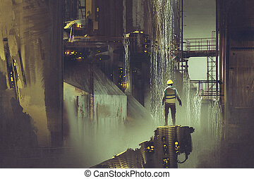 engineer standing on a platform looking at futuristic dam -...