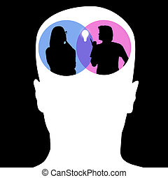Creative analytical thinking concept - Abstract image of man...