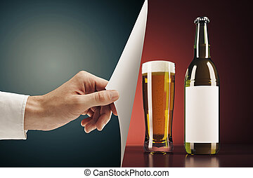 Hand flipping beer page - Hand flipping abstract page,...