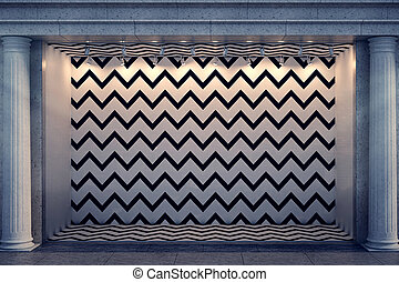 Blank zigzag window display at night - Front view of blank...