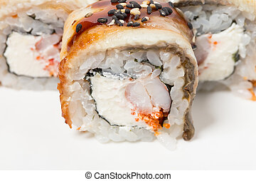 Canada roll with snow crab. Can be used as a background.