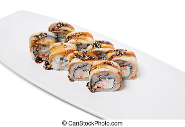 Canada roll with snow crab. Isolated on a white background.