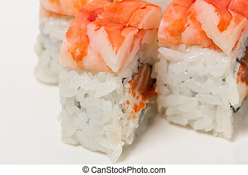 Sushi roll with snow crab. - Sushi roll with snow crab and...