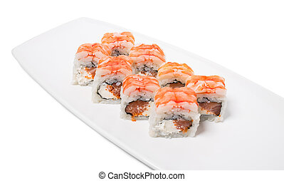 Sushi roll with snow crab. - Sushi roll with tuna and snow...