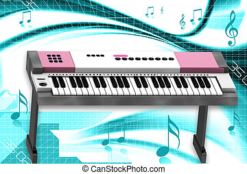 Piano - 3d rendering of Piano in abstract background