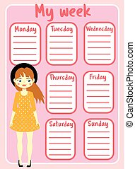 Kids timetable with beautiful teen character. Weekly planner for girls. School schedule design template