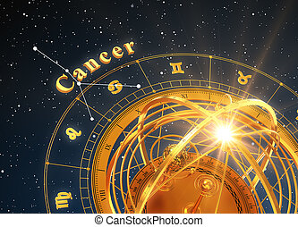 Zodiac Sign Cancer And Armillary Sphere On Blue Background....