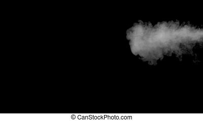 Blowing smoke cloud of electronic cigarette on black...