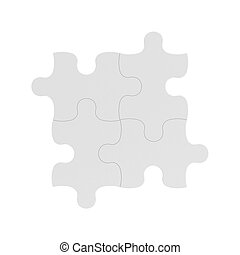 3d rendering of four white puzzle pieces connected together...