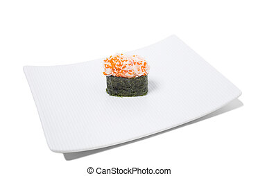 Gunkan sushi with snow crab. Isolated on a white background.