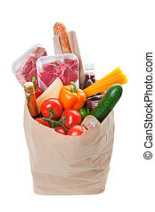 Grocery bag - A grocery bag full of Meat with healthy fruits...