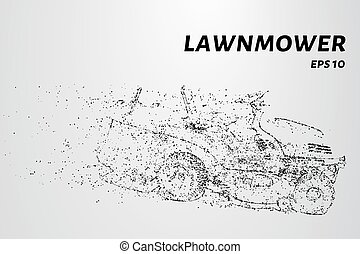A lawn mower consists of dots and circles. Mower wind blown...