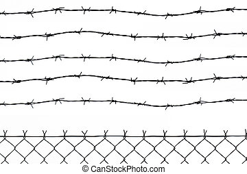 wired fence with five barbed wires