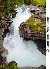 Gudbrandsjuvet ravine with gorge river, Norway