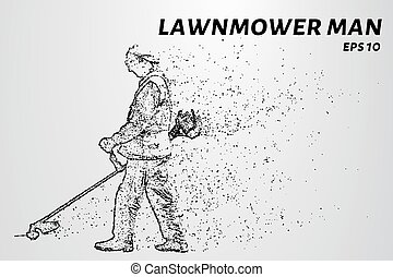 Mowing grass consists of dots and circles. A gardener mows...