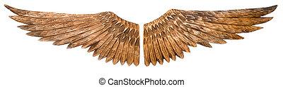 madeira, asas, isolado, branca, fundo