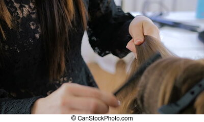Professional hairdresser doing hairstyle for young woman and...