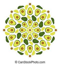 Avocado mandala pattern - Avocado mandala ornament. Circular...