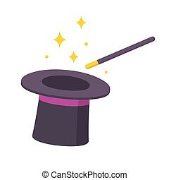 Magic hat and wand - Magician hat and magic wand icon...