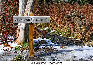 direction sign of appalachian trail in Great Smoky Mountains, USA