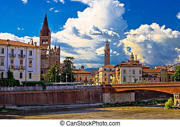 City of Verona Adige river San Fermo Maggiore church and...