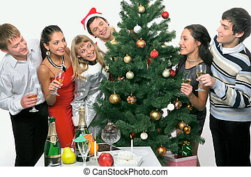 Christmas party - Young happy people are celebrating...