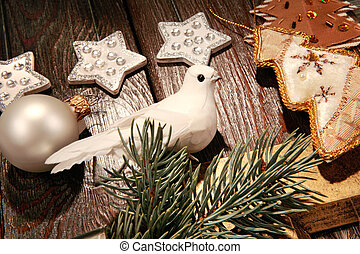 Part of a christmas - Photo of white pigeon near different...