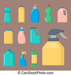 Bottles of household chemicals supplies cleaning housework...