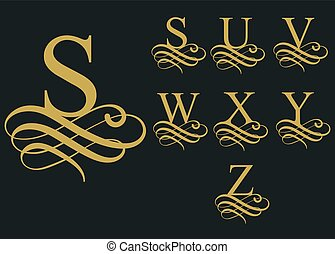 Curly font caligraphic alphabet. vector - Curly caligraphic...