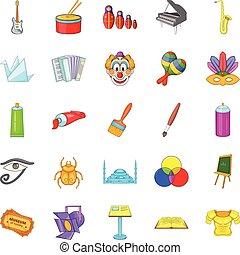 Movie icons set, cartoon style - Movie icons set. Cartoon...