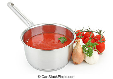 tomato sauce - cooking pot with tomato sauce
