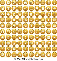 100 learning kids icons set gold