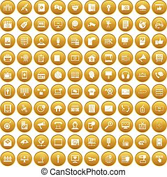 100 information technology icons set gold - 100 information...