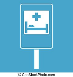 Symbol of hospital road sign icon white