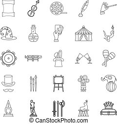 Picture show icons set, outline style - Picture show icons...