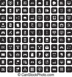 100 network icons set black - 100 network icons set in black...