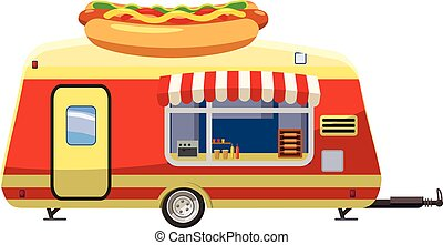 Hot dog trailer mobile snack icon, cartoon style