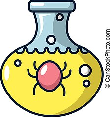 Bacteria in a flask icon, cartoon style