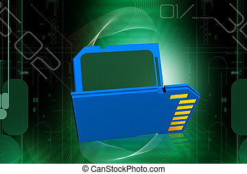 Memory card - 3d rendering of memory card in digital color...